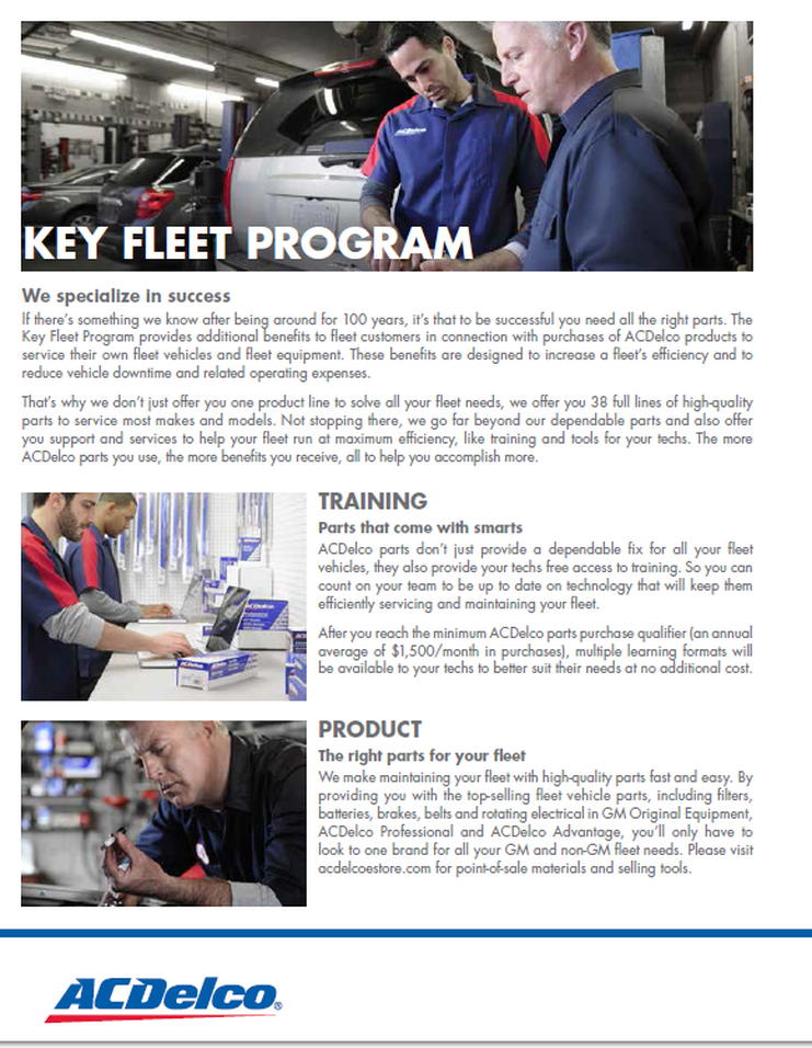 ACDelco Fleet Program - Right Part. Right Price. Right Now.